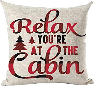 ramirar Wine Red Black Word Art Quote Relax You are at The Cabin Autumn Fall Inspirational Decorative Throw Pillow Cover C...