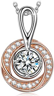 NINASUN Women Christmas Necklace Gifts The London Eye Sterling Silver Pendant Necklace Rose Gold Plated 3A CZ Fine Jewelry