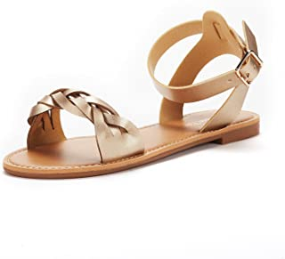 65d8dad32 DREAM PAIRS Women s HOBOO B Fashion Open Toes Ankle Strap Buckle Flat  Sandals