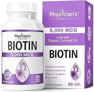 Biotin 5000 MCG - Vitamin B7 with Coconut Oil - Natural Biotin Supplement for Hair Growth, Nail & Skin Health - Vegan & No...