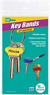 Lucky Line Colorful Key Bands - Key Identifiers Medium, 16 Pack (17116)