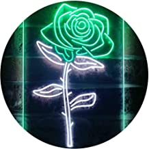 Rose Flower Room Dual Color LED Neon Sign White & Green 400 x 600mm st6s46-i3531-wg
