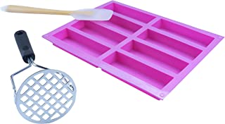 Protein Bar Silicone Mold, with Duty Stainless Steel Potato Masher, Silicone Pancakes Shovel, Energy Bar Ma...