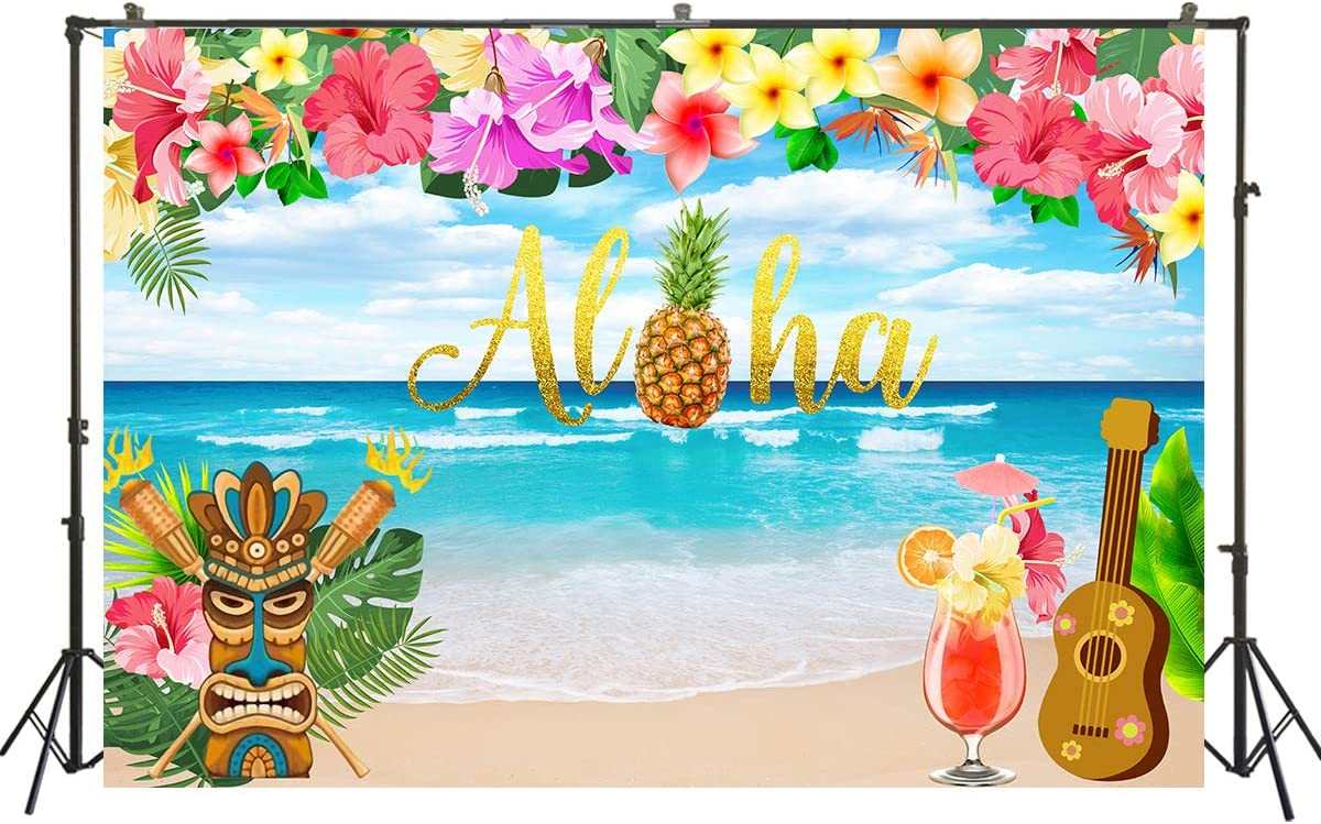 Muzi 6.5x5ft Aloha Theme Party Backdrop Rustic Brown Wood Floor Tropical Flowers Photography Background Baby Shower Birthday Banner Photo Studio Props Cake Table Decorations W-3379