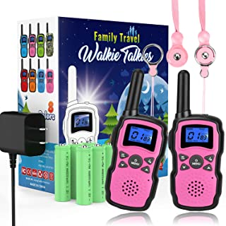 Wishouse 2 Rechargeable Walkie Talkies for Kids with Charger Battery, Two Way Radio Family Talkabout Long Range, Outdoor Game Camping Adventure Toys Birthday Xmas Gifts for Girls Boys Age 3-12 Pink