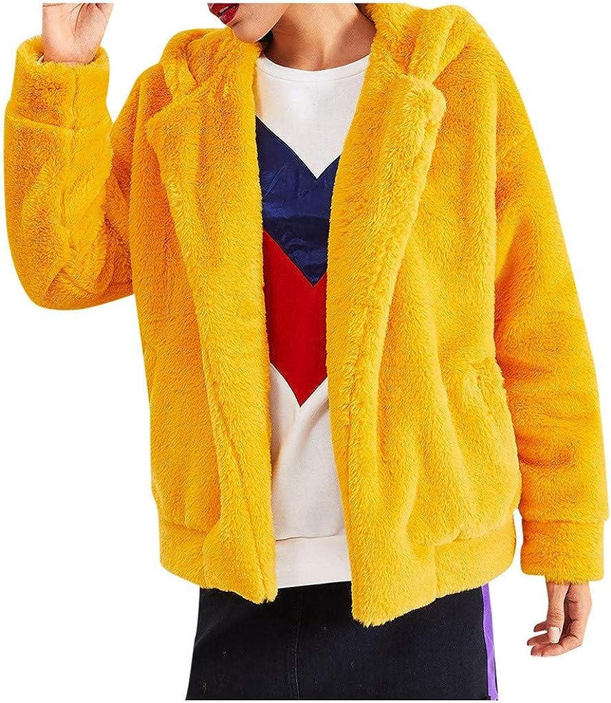 Holzkary Women's Winter Fashion Long Sleeve Faux Fur Shaggy Jacket Warm Outerwear Coat with Pockets