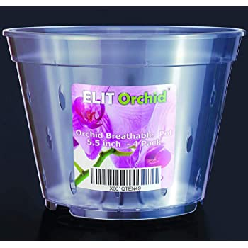 """Orchid Pots with Holes Indoor Clear Plastic Plant Pot Set (5.5"""" - 4 Pack)"""