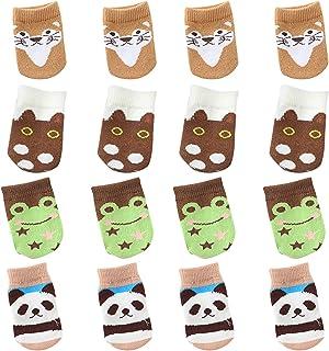 CYJZHEU 16 Piezas Calcetines de Pierna de Silla, Cubiertas de Patas de Sillas Protector Patas Sillas Redondo Resbalón Anti-ruido Hecho Punto del Modelo Animal del Calcetín de los Muebles (Marrón)
