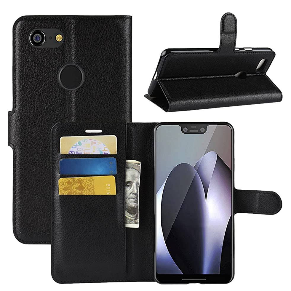 Google Pixel 3 XL Case, Fettion Premium PU Leather Wallet Flip Phone Protective Case Cover with Card Slots for Google Pixel 3XL 2018 Smartphone (Black)