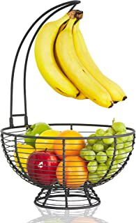 Fruit Basket With Banana Hanger - Regal Trunk Rustic French Farmhouse Fruit Bowl With Banana Tree Hangar | Vegetable and Fruit Bowl With Detachable Banana Stand | Countertop Fruit Holder Centerpiece