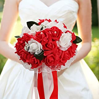 vLoveLife Wedding Bouquet White & Red Artificial Rose Flowers Bridal Bridesmaid Bouquets Handmade Posy Pearl Rhinestone Ribbon Decor