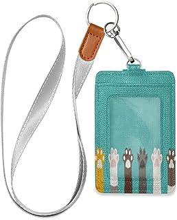 HMZXZ Porte-badge d'identification en cuir synthétique avec motif de patte de chat mignon avec cordon détachable - Pour fe...