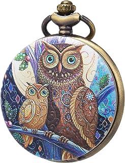 Pocket Watch Men 3D Printing Embossed Multicolored Owl Pattern SIBOSUN Unique Modern Analog