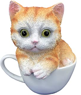 The More Lifelike Cup Cat Statue Decor for Home or Office Adorable Kitty Indoor Outdoor (Brown-Cup)