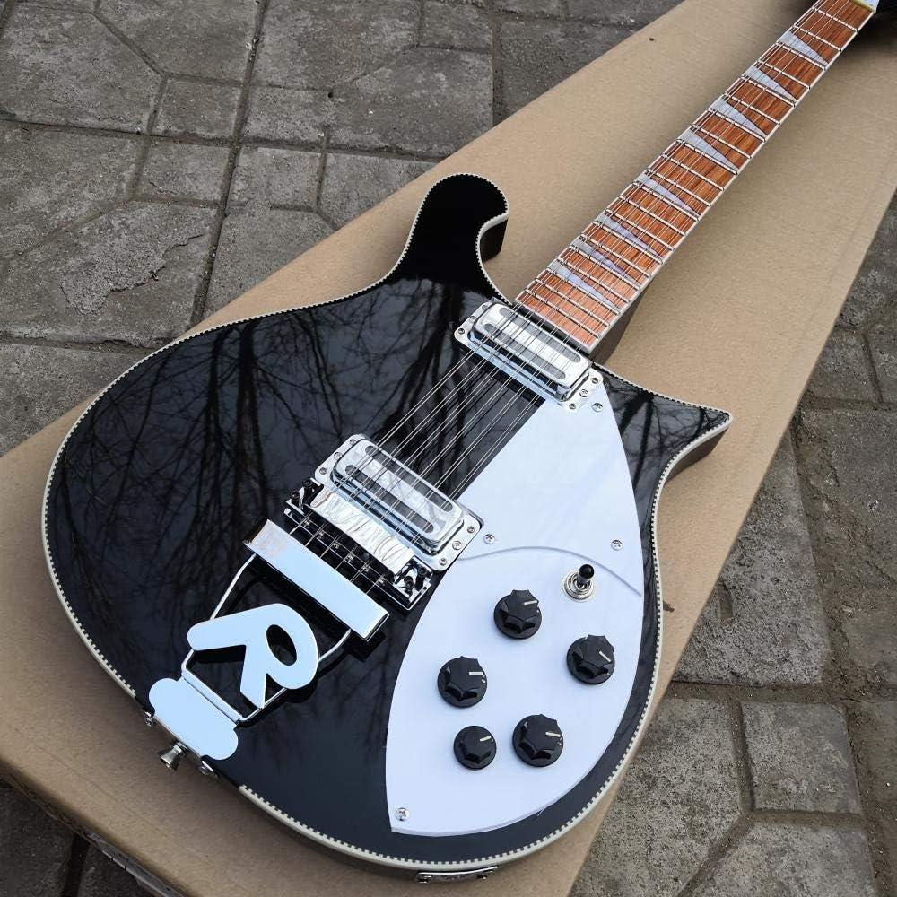 LYNLYN Guitarras 12 Cuerdas Eléctricas Guitarra Negro Pintura R Puente Cuello Completo Cuerpo 6 Cuerdas Acero Acústico Cuerda Guitarras Guitarra eléctrica (Color : 6 String, Size : 39 Inches)