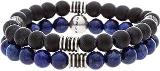 Steve Madden Stainless Steel Blue Black Beaded Bracelet for Men 2 pc Set