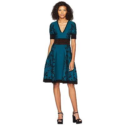 YIGAL AZROUEL Deep V-Neck Jacquard Knit Dress (Army Multi) Women