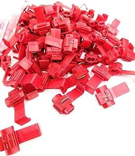 Jhe Red Solderless Wire Quick Splice Terminals Connector 22 through 18 Gauge (100 Pcs)