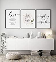 Bible Verse Wall Art Gallery Be Still Love is Patient I am with you Always Scripture Art for Christian Decor(With Frame),p...