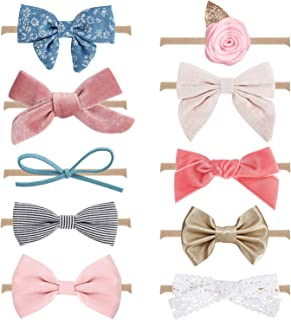 10-Pack Baby Girl Headbands and Bows, Newborn Infant Toddler Hair Accessories by MiiYoung