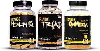 Controlled Labs Overall Health Bundle, 270 Count Orange Triad, 90 Count Orange Health IQ, 120 Count Orange Oximega Fish Oi...