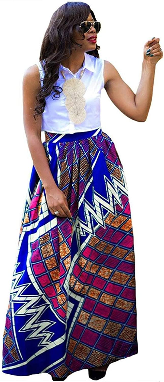 Orfila Womens Maxi Skirt Multicolor Print Flare Long Skirt Beach Dress