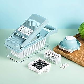 Yizc Coupe-Oignon Dicer Multifonction Salade Food Cutter Spiralizer,Coupe-légumes avec Récipient,Cuisine Trancheur de Mand...