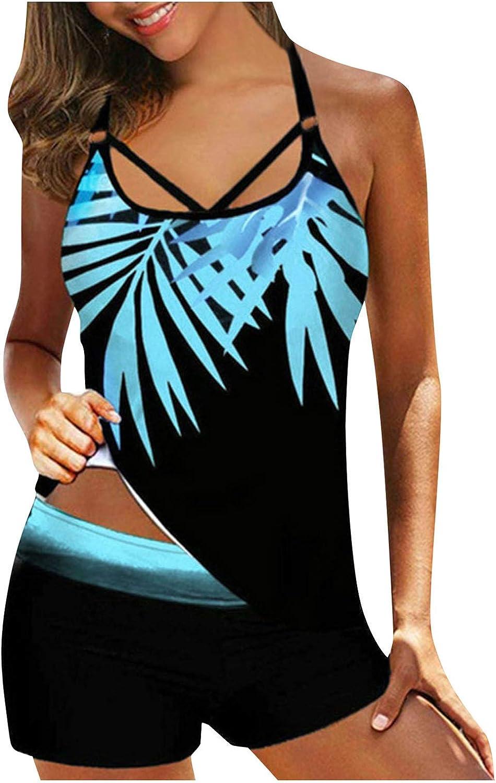 ManxiVoo Women Plus Size Print Strappy Back Tankini Set Two Piece Swimdress Panty Bathing Suit Beachwear