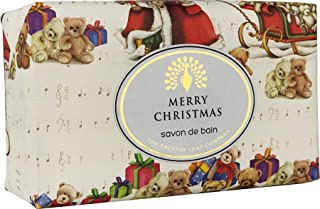 The English Soap Company, Vintage Wrapped Luxury Moisturising Shea Butter Hand Soap, Father Christmas - Christmas Greenery, 200g