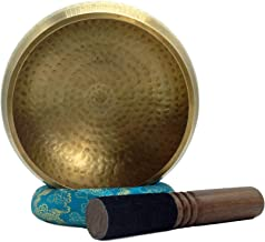 Large 6.25 Inches Meditation Grade Professional Quality Hand Hammered Tibetan Singing Bowl Set. Yoga Sound Bowl Made with Seven Metals for Healing and Relaxation. By Healing Lama(TM)