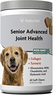 NaturVet – Senior Advanced Joint Health – Supports Overall Joint Health – Enhanced with Glucosamine, MSM, Chondroitin & Collagen – 60 Soft Chews