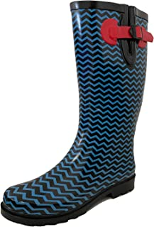 FREE Shipping on eligible orders. G4U Women s Rain Boots Multiple Styles  Color Mid Calf Wellies Buckle Fashion Rubber Knee High Snow deee170d9e3d