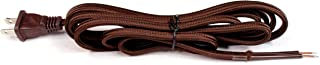 Creative Hobbies Brown Rayon Cloth Covered Electric Lamp Cord with End Plug, Stripped Ends Ready for Wiring -8 Foot, SPT-2 UL Listed