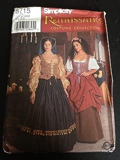 Simplicity 8715 Sewing Pattern, Misses' Renaissance Costume Collection, Size D (4,6,8)