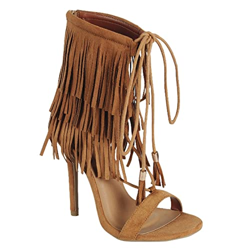 cabfd71e4a27d Nayeli 27 Womens Fringe Open Toe High Heel Sandals Tan