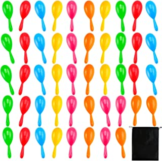 Resinta 48 Pieces Neon Maracas Shakers 6 Color Mini Noisemaker Bulk Bright Colorful Noise Maker with Drawstring Bag for Classroom Musical Instrument and Mexican Fiesta Party Favors, 4 Inch