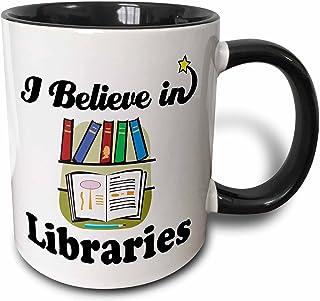 """3dRose mug_105312_4""""I Believe In Libraries"""" Two Tone Mug, 11 oz, Black/White"""