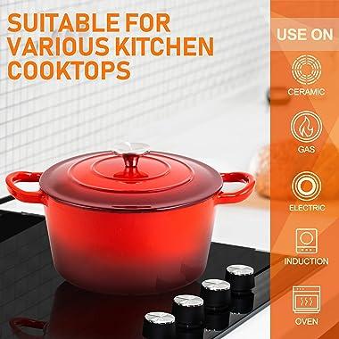 MICHELANGELO Dutch Oven, Enamel Cast Iron Dutch Oven With Lid, 4Qt Cast Iron Dutch Oven Pot, Enameled Dutch Oven 4 Quart With