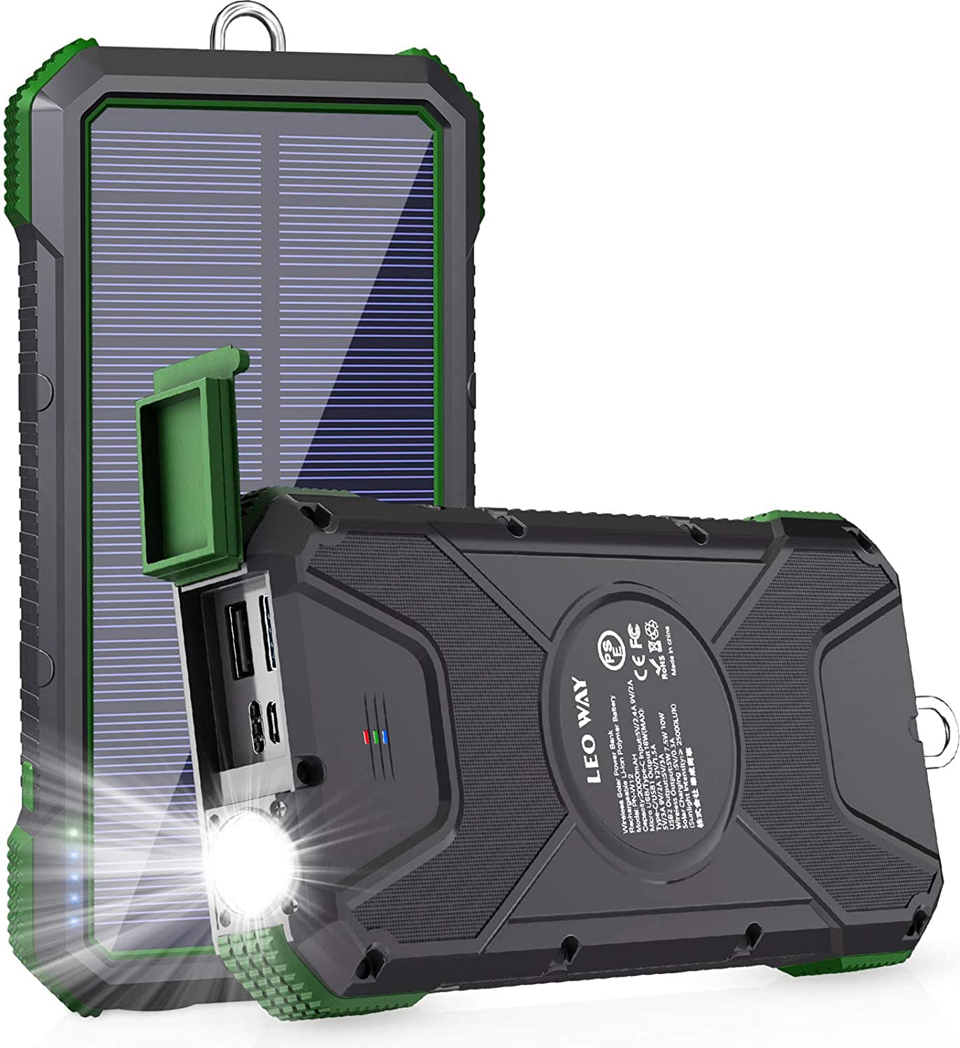 Solar Power Bank,Solar Charger,20000mAh PD 18W& QC3.0 Fast Charger for Green