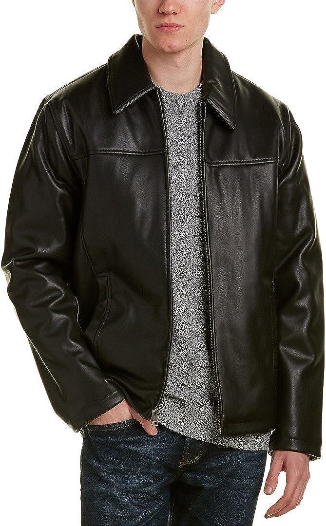 Cole Haan Men's Faux-Leather Jacket, Black, 2XL