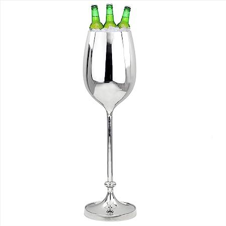 Nagina International Refroidisseur de vin, Grand, en Aluminium de première qualité, nickelé et nickelé   Cave à vin et Cave avec Seau à Glace   Articles de Cuisine et de Bar