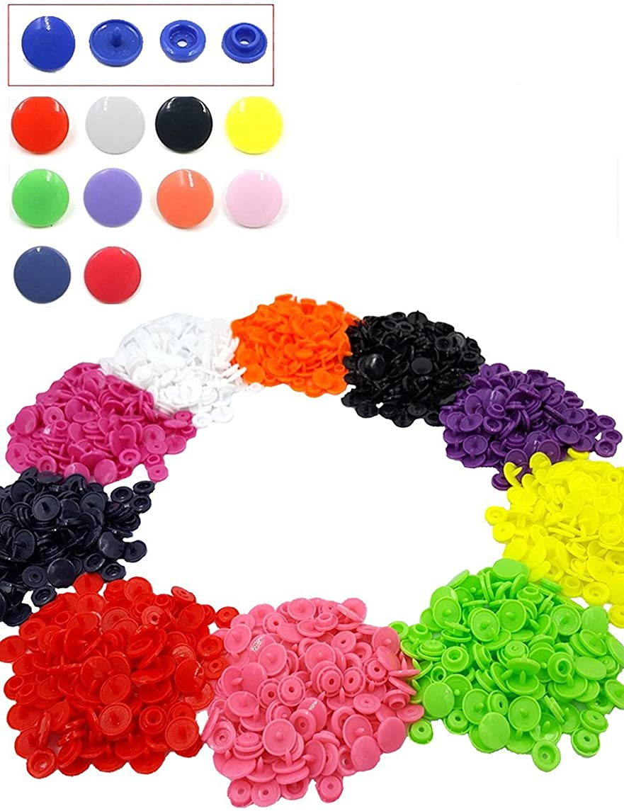 300 Sets Plastic T5 Snaps Buttons, 10 Colors No-Sew Snap Fasteners Button Kit for Baby Kids Infants Onesies Clothes Rain Coat Diaper Bib Sewing Crafting