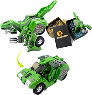 Dinosaur Transform Car Toy Change into Car of Gift Package Manual Transform A Toy of Two Games with Simulation of Sound Effects Glowing Eyes