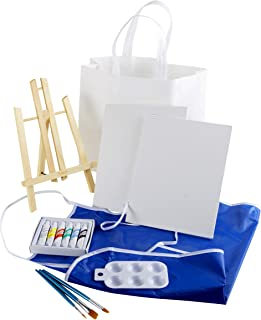 Artlicious 15 Piece Canvas Party Kit - Easel, Canvas Panel Boards, Acrylic Paints, Paint Brushes, Palette, Apron & Take Ho...
