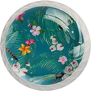 Boutons De Tiroir Verre Cristal Rond Poignées d'armoires tirer 4 pièces,fleur florale d'été