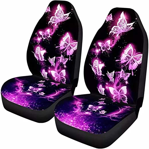 Dolyues Purple Butterfly Print Front Car Seat Covers for Women Full Set...