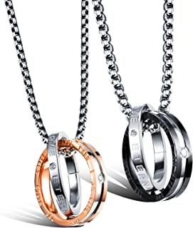 OPK Couple Pendant Necklace for Him and Her Stainless Steel Fashion Jewelry Necklace Set for Women Men