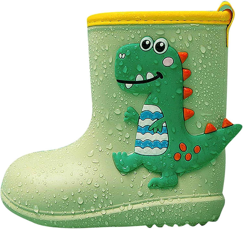 Toddler Little Kids Rainboots Lovely Dinosaur Rubber Boots Waterproof Shoes for Boys Girls