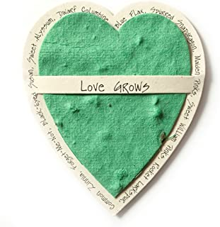 Bloomin Mini Sage Green Heart-Shaped Seed Paper Enclosure Cards 9 Card Set - Perfect for Valentine's Day, Mother's Day and Wedding Anniversaries! Size: 2.25 x 2.25