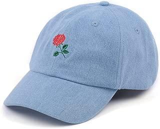 Rose Embroidered Dad Hat Women Men Cute Adjustable Cotton Floral Baseball Cap